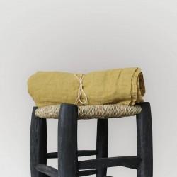 Rideau madras en voile de lin brut