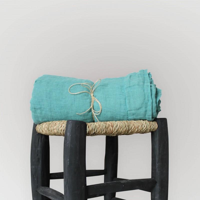 Rideau turquoise en voile de lin brut
