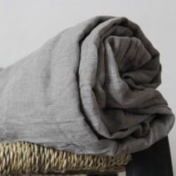 Rideau gris en voile de lin brut