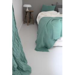 Plaid Turquoise en lin brut