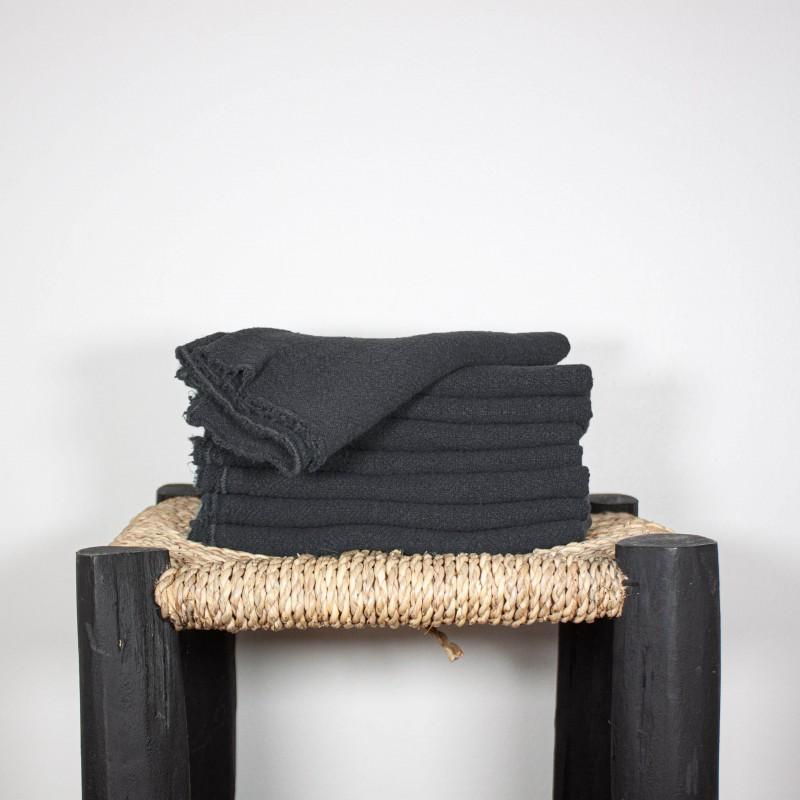 Serviettes de Table en lin brut Noir