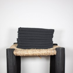 Serviettes de Table en lin brut Noir