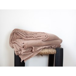 Plaid/Nappe en lin brut Eau de rose
