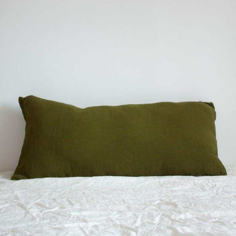 Coussin Long en lin brut Chartreuse