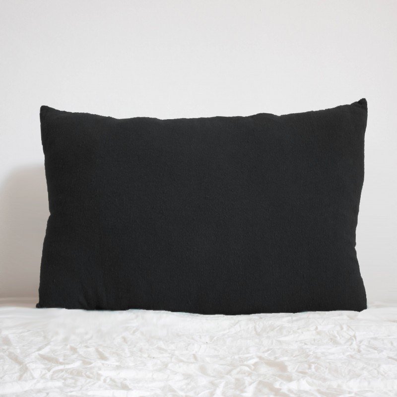 Coussin Rectangulaire en lin brut Noir