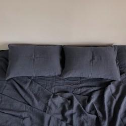 Linge de lit en lin lavé - Carbone