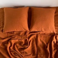 Linge de lit en lin lavé - Cuivre
