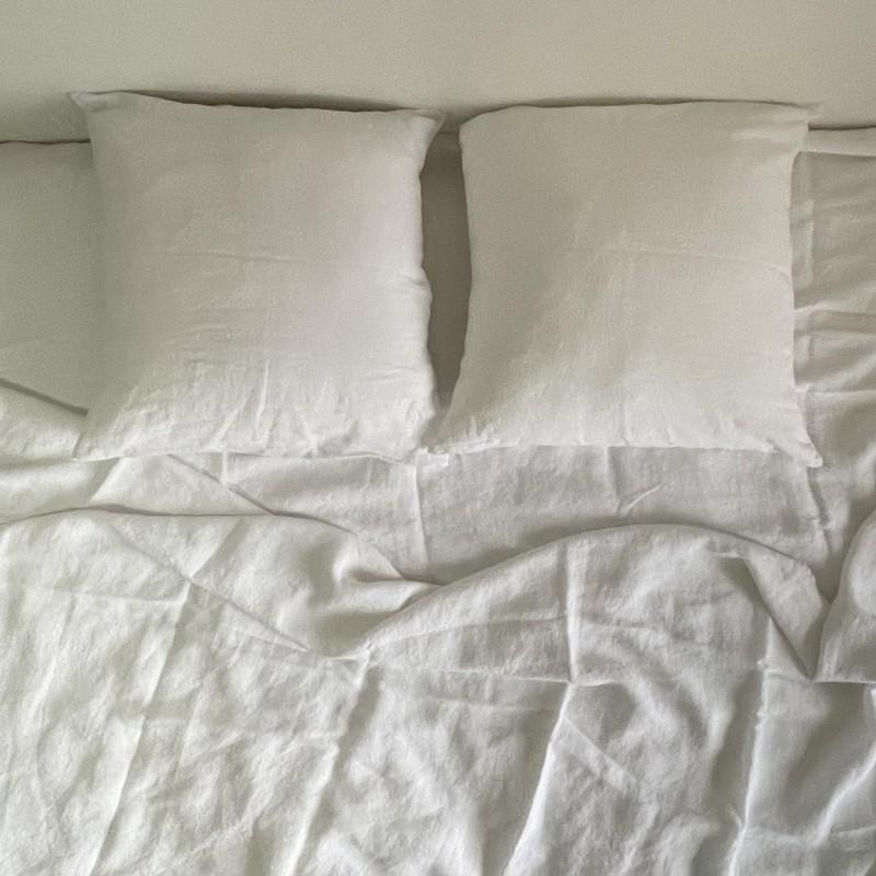 Linge de lit en lin lavé - Craie