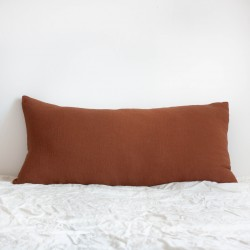 Coussin Long en lin brut Santal